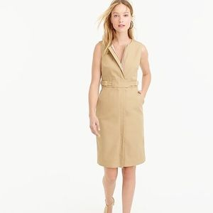 J Crew Front-zip Sleeveless Dress in Khaki